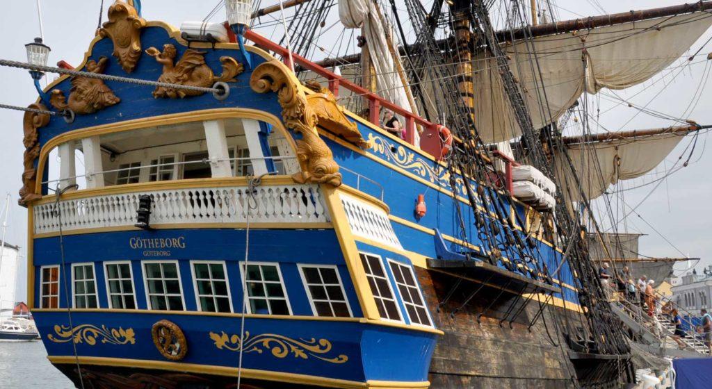 Bogato zdobiona rufa fregaty Gotheborg