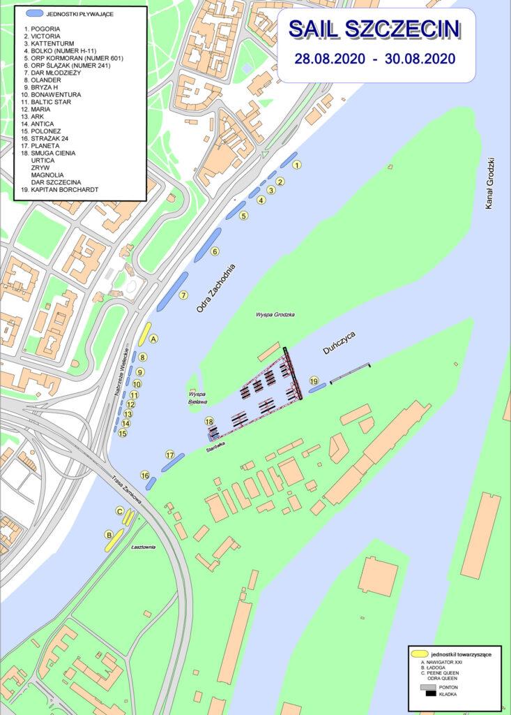 Plan cumowania - Sail Szczecin 2020