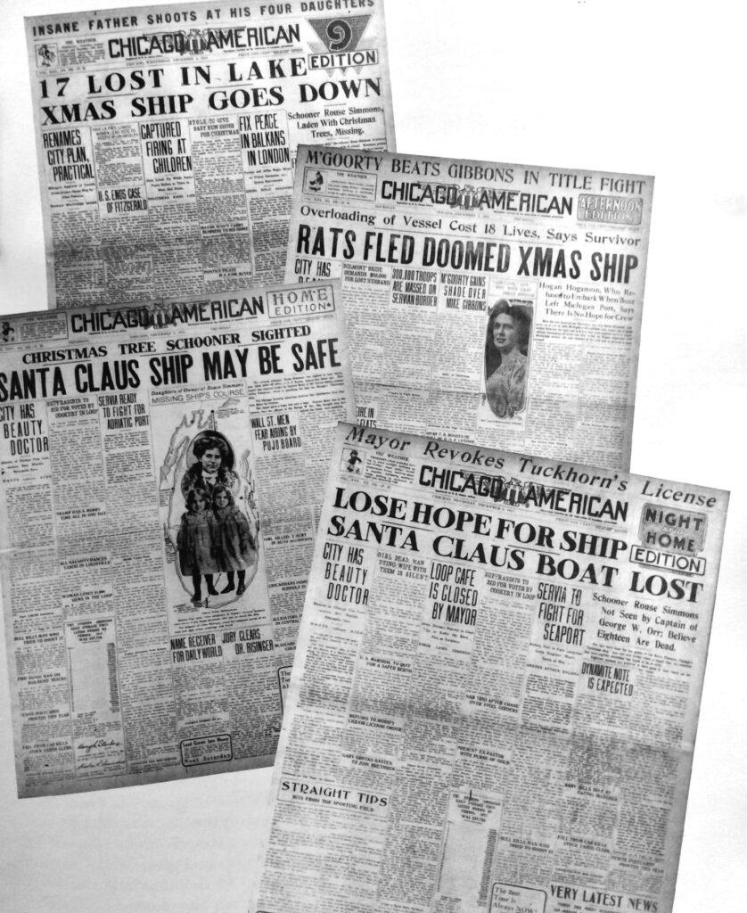 Nagłówki chicagowskich gazet kilka dni po tragedii Rouse Simmons